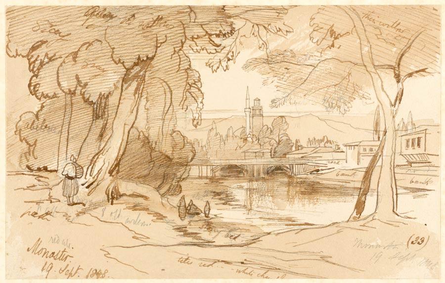 Реката Драгор и Саат-кулата на цртеж од патеписецот Едвард Лир - 1848 год