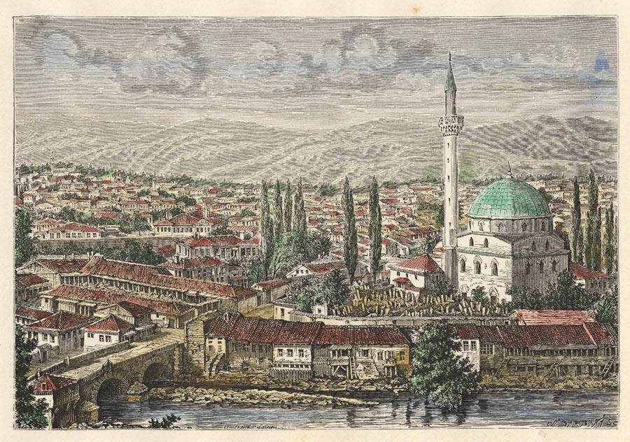Исак џамија на литографија изработена од фотографија - H. Catenacci - 1878